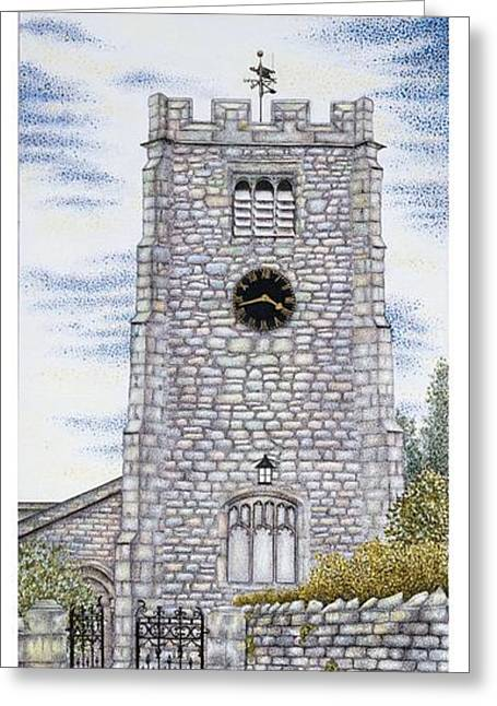Blue And Green Drawings Greeting Cards - St Pauls Church Clock Greeting Card by Sandra Moore
