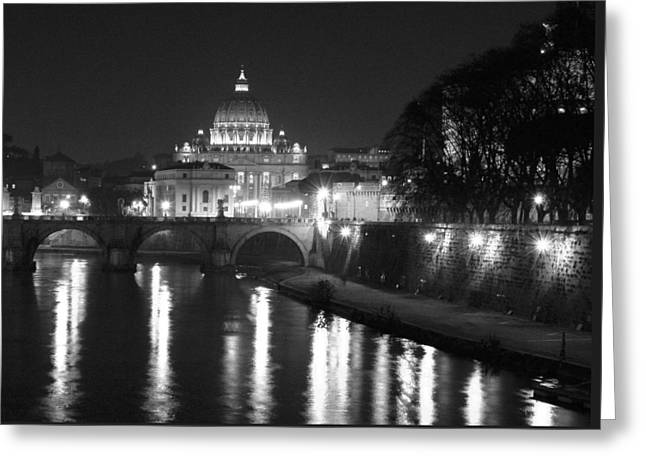Travel Photography Greeting Cards - St. Peters at Night Greeting Card by Donna Corless