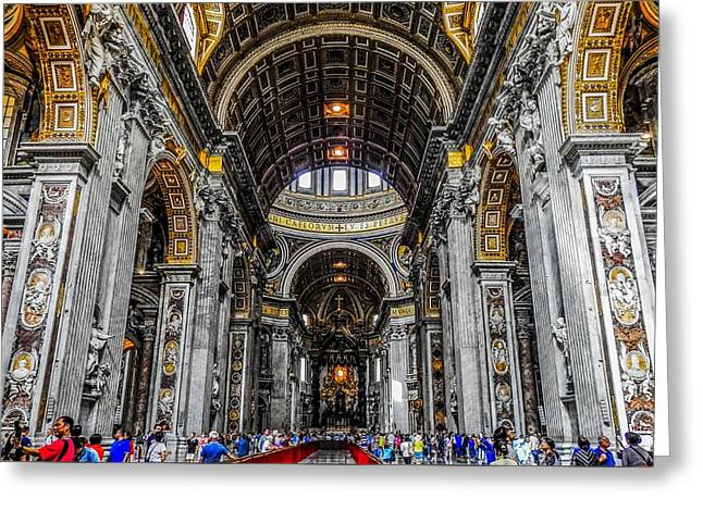 Baldacchino Greeting Cards - St. Peters Basilica and the High Altar Greeting Card by Marilyn Burton