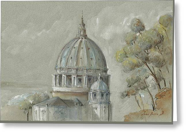 St Peter's Basilica Rome Greeting Card by Juan Bosco