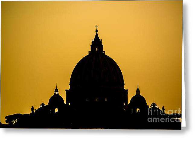 Italian Sunset Greeting Cards - St Peters Basilica - Vatican City at dusk - Rome - Italy Greeting Card by Bailey Cooper Photography