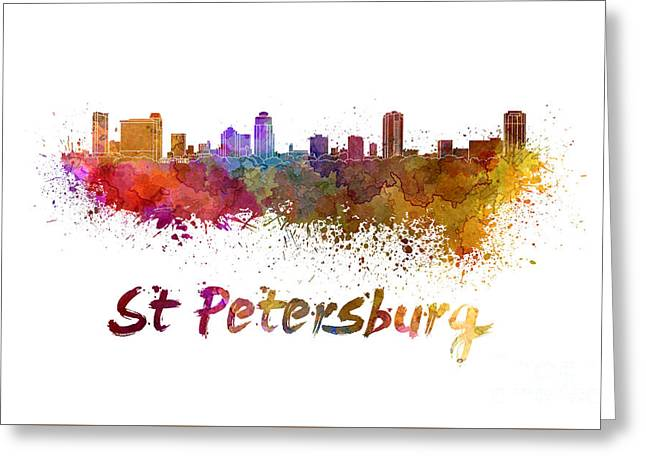 St Petersburg Florida Greeting Cards - St Petersburg FL skyline in watercolor Greeting Card by Pablo Romero