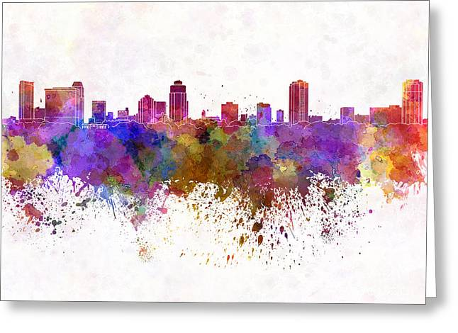 St Petersburg Florida Greeting Cards - St Petersburg skyline in watercolor background Greeting Card by Pablo Romero