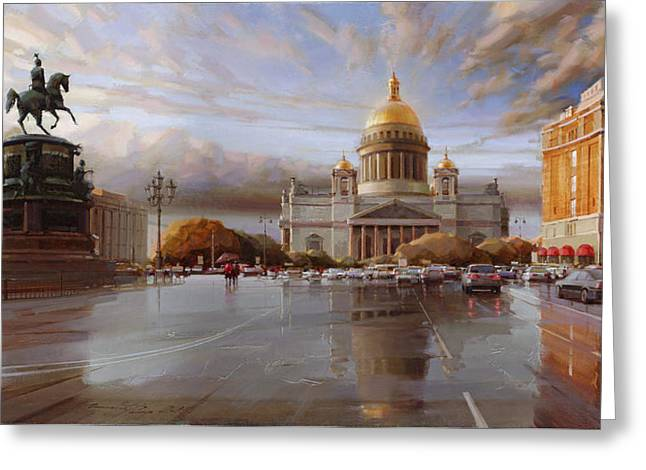 St. Petersburg. St. Isaac's Square At Sunset Greeting Card by Ramil Gappasov