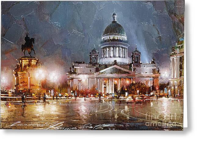 St. Petersburg.isaac Square Greeting Card by Ramil Gappasov
