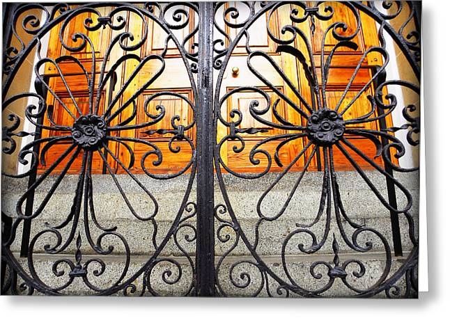 Wrought Iron Gate Greeting Cards - St Philips Wrought Iron Gate Greeting Card by Melissa Wyatt