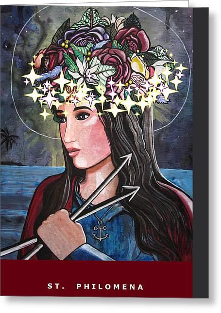 St. Philomena Greeting Card by Mary Ellen Frazee