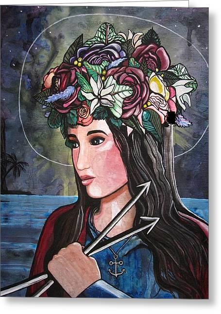 Religious Paintings Greeting Cards - St. Philomena Greeting Card by MaryEllen Frazee