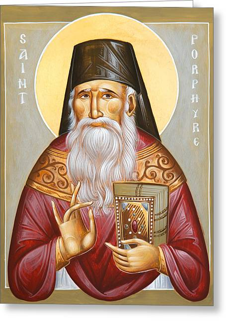 St Porphyrios Of Kavsokalyvia Greeting Card by Julia Bridget Hayes