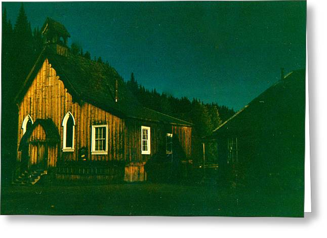 Barkerville Greeting Cards - St. Saviours Church by Moonlight Greeting Card by Doug Matthews
