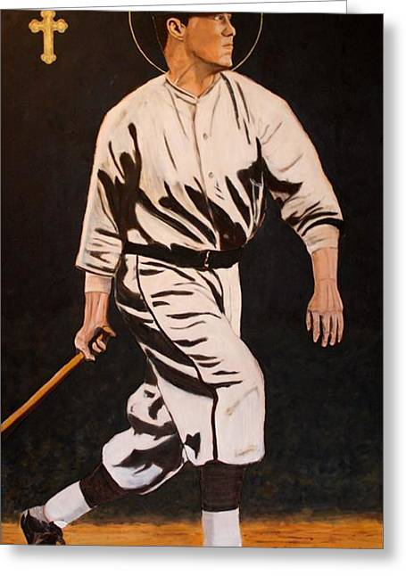 Baseball Paintings Greeting Cards - St. Sebastian Patron of Athletes Greeting Card by Ralph LeCompte