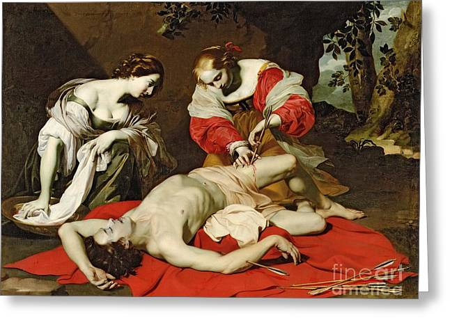 Injured Greeting Cards - St Sebastian Tended by the Holy Irene Greeting Card by Nicholas Renieri