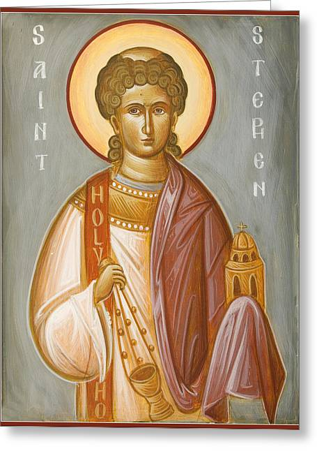 Icon Byzantine Greeting Cards - St Stephen II Greeting Card by Julia Bridget Hayes