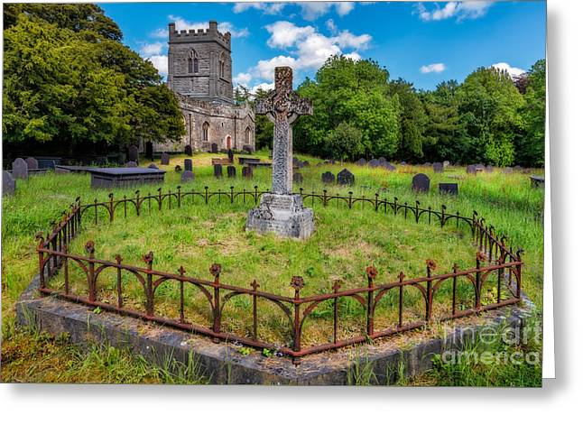 Gravestones Greeting Cards - St Tegai Cross Greeting Card by Adrian Evans