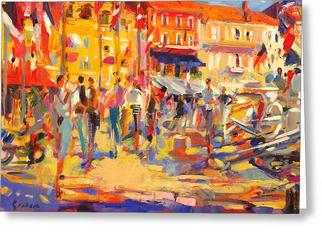 Shades Of Red Greeting Cards - St Tropez Promenade Greeting Card by Peter Graham