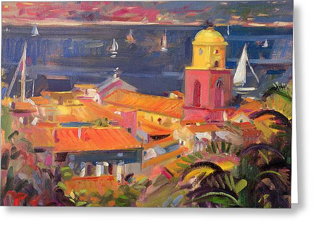 Skyline Paintings Greeting Cards - St Tropez Sailing Greeting Card by Peter Graham