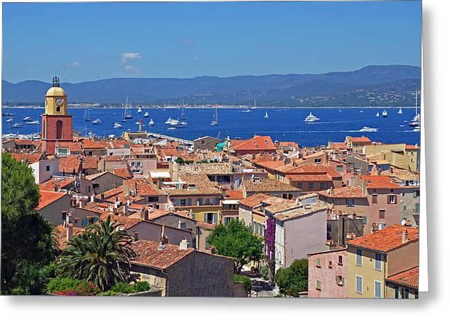 St.tropez Greeting Cards - St-Tropez Skyline Greeting Card by Corinne Rhode