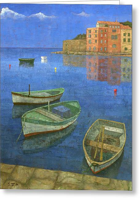 Harbour Paintings Greeting Cards - St. Tropez Greeting Card by Steve Mitchell