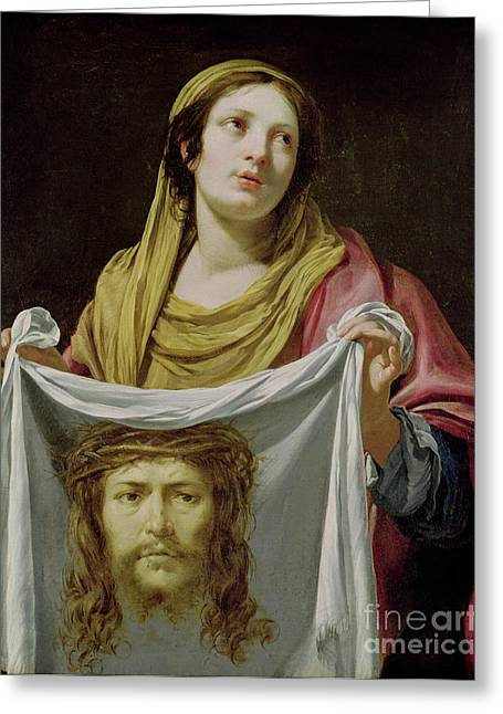 Female Faces Greeting Cards - St. Veronica Holding the Holy Shroud Greeting Card by Simon Vouet