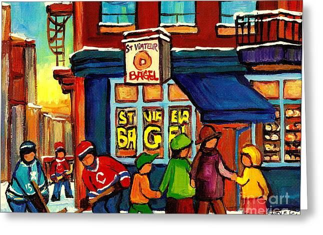 Montreal Bagels Greeting Cards - St. Viateur Bagel With Hockey Greeting Card by Carole Spandau