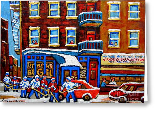 Hockey Paintings Greeting Cards - St Viateur Bagel With Hockey Montreal Winter Street Scene Greeting Card by Carole Spandau