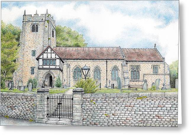 Blue And Green Drawings Greeting Cards - St Wilfrids Church Halton Lancashire Greeting Card by Sandra Moore