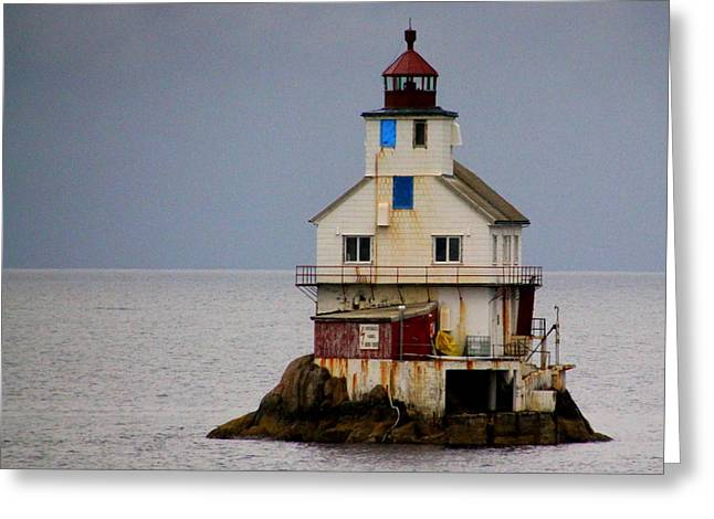 Norwegian Lighthouse Greeting Cards - Stabben Lighthouse - Its Really a House Greeting Card by Laurel Talabere