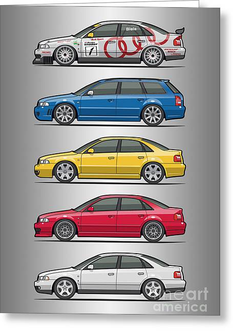 Stack Of Audi A4 B5 Type 8d Greeting Card by Monkey Crisis On Mars