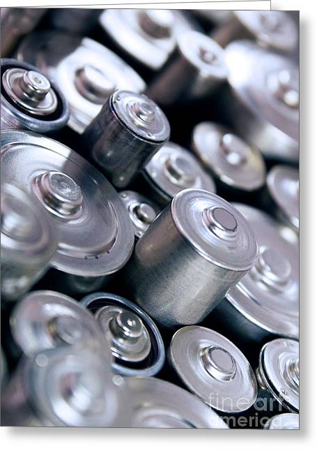 Energize Greeting Cards - Stack Of Batteries Greeting Card by Carlos Caetano
