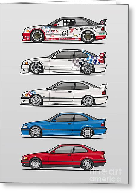 Stack Of Bmw 3 Series E36 Coupes Greeting Card by Monkey Crisis On Mars