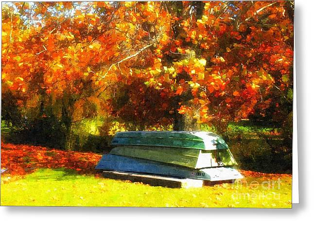 Autumn Photographs Greeting Cards - Stack of Boats Greeting Card by Kathy Jennings