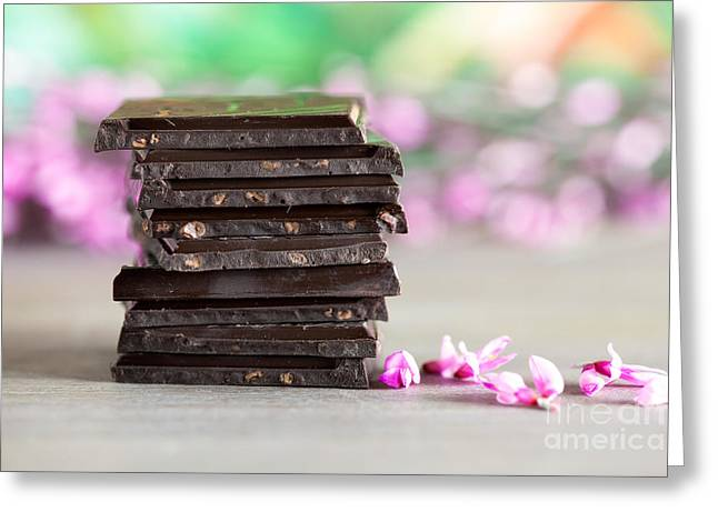 Black Tie Photographs Greeting Cards - Stack of Chocolate Greeting Card by Nailia Schwarz