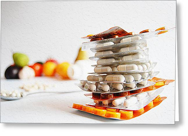 Medical Greeting Cards - Stack of color medications Greeting Card by Queso Espinosa