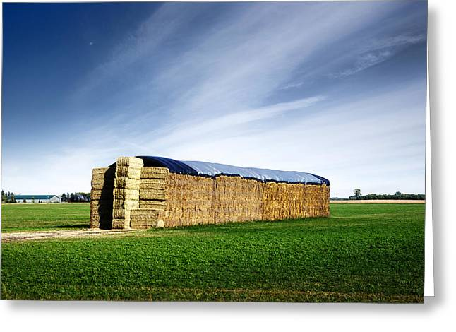 Haying Greeting Cards - Stack of Hay Bales Greeting Card by Donald  Erickson