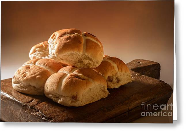Bun Photographs Greeting Cards - Stack Of Hot Cross Buns Greeting Card by Amanda And Christopher Elwell