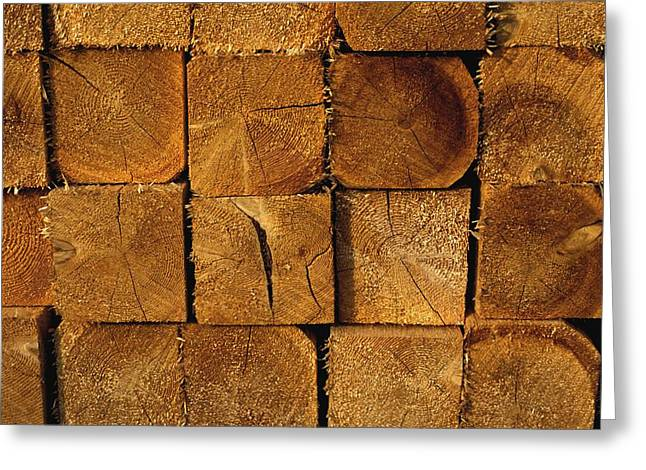 Stack Of Logs Greeting Card by David Chapman