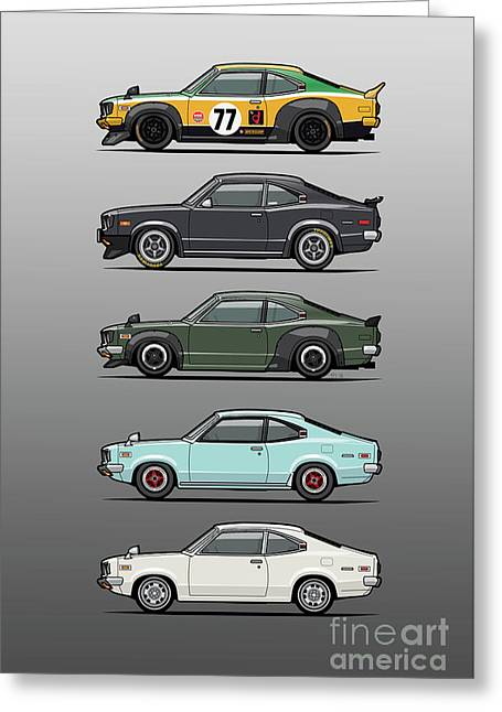 Stack Of Mazda Savanna Gt Rx-3 Coupes Greeting Card by Monkey Crisis On Mars