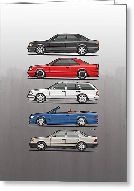 Stack Of Mercedes Benz W124 E-class Greeting Card by Monkey Crisis On Mars
