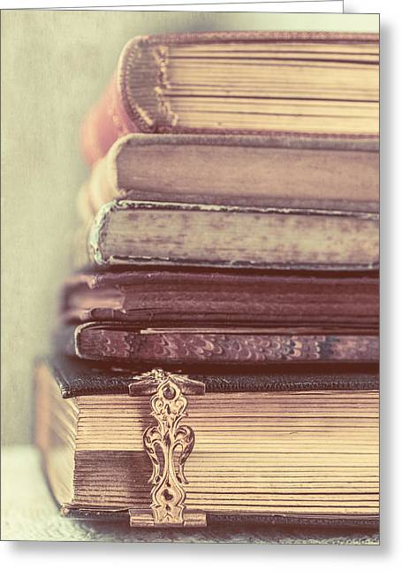 Stack Of Old Books Greeting Card by Elly De vries