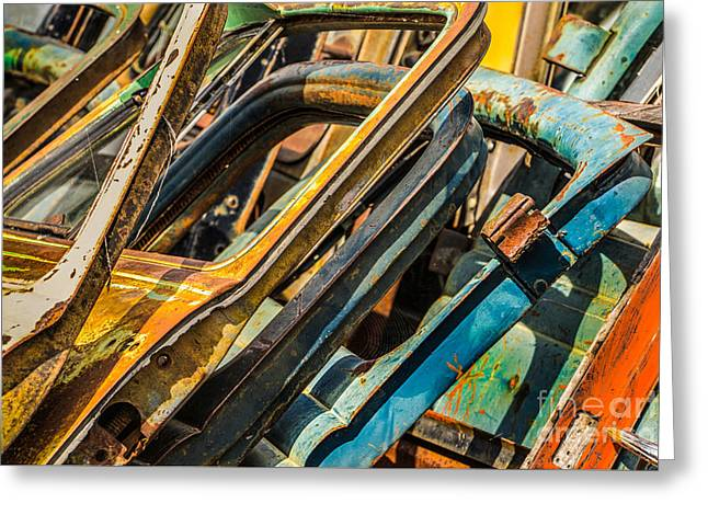 Rusted Cars Greeting Cards - Stack of Rusty Car Doors Greeting Card by Jerry Fornarotto