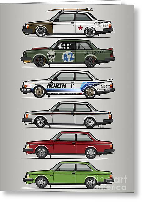 Stack Of Volvo 242 240 Series Brick Coupes Greeting Card by Monkey Crisis On Mars