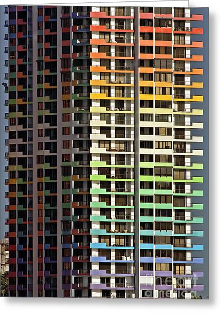 Aqua Condominiums Photographs Greeting Cards - Stacked Rainbow Greeting Card by Frank Boellmann