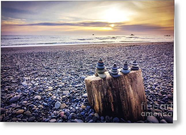 Stacked Rocks At Sunset Greeting Card by Joan McCool