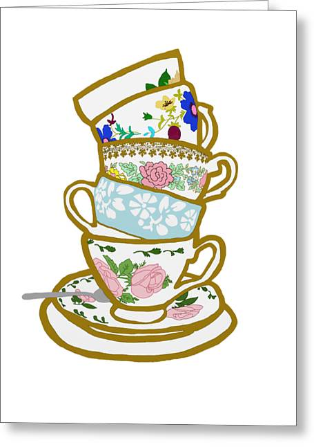 Stack Drawings Greeting Cards - Stacked Tea Cups Greeting Card by Priscilla Wolfe