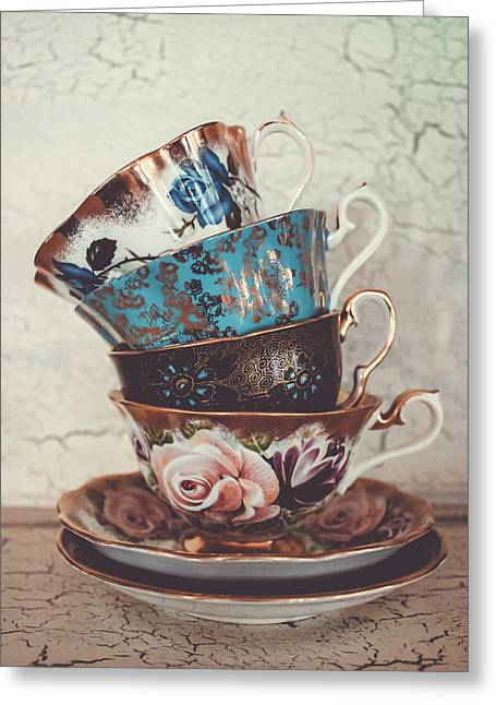 Stacked Teacups Iv Greeting Card by Colleen Kammerer