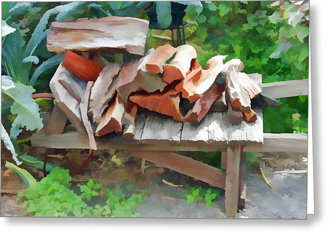 Wooden Wagons Mixed Media Greeting Cards - Stacking the Firewood Greeting Card by Pamela Walton
