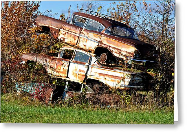 Rusted Cars Greeting Cards - Stacking Them Up Greeting Card by Jan Amiss Photography