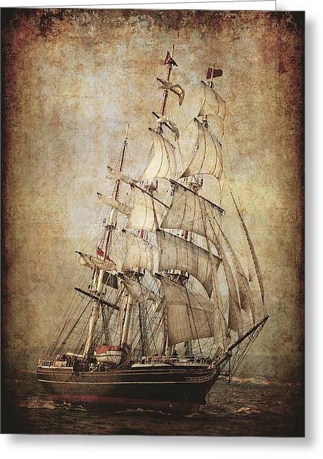 Clippers Mixed Media Greeting Cards - Stad Amsterdam 3 Masted Clipper Greeting Card by Daniel Hagerman