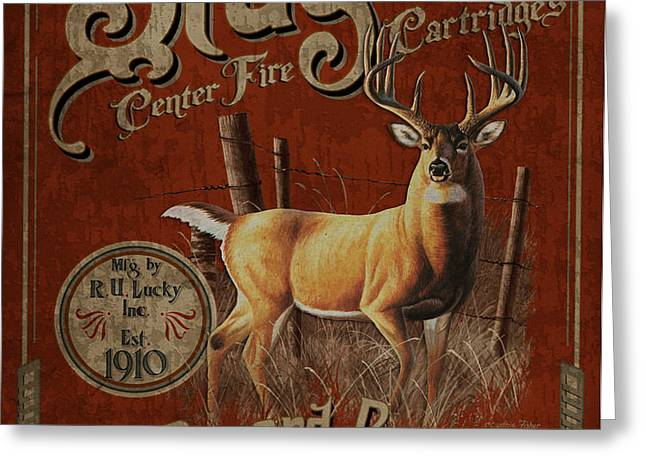 Stag Cartridges Sign Greeting Card by JQ Licensing