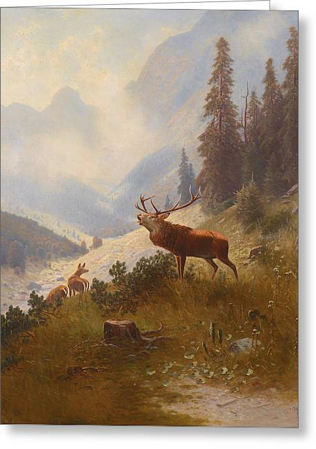 Rack Paintings Greeting Cards - Stag In The Mountains Greeting Card by Ludwig Skell